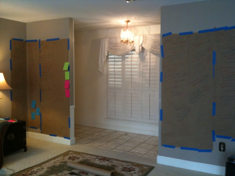 Butcher paper and painters tape, and my plot brainstorm/outline for book 4